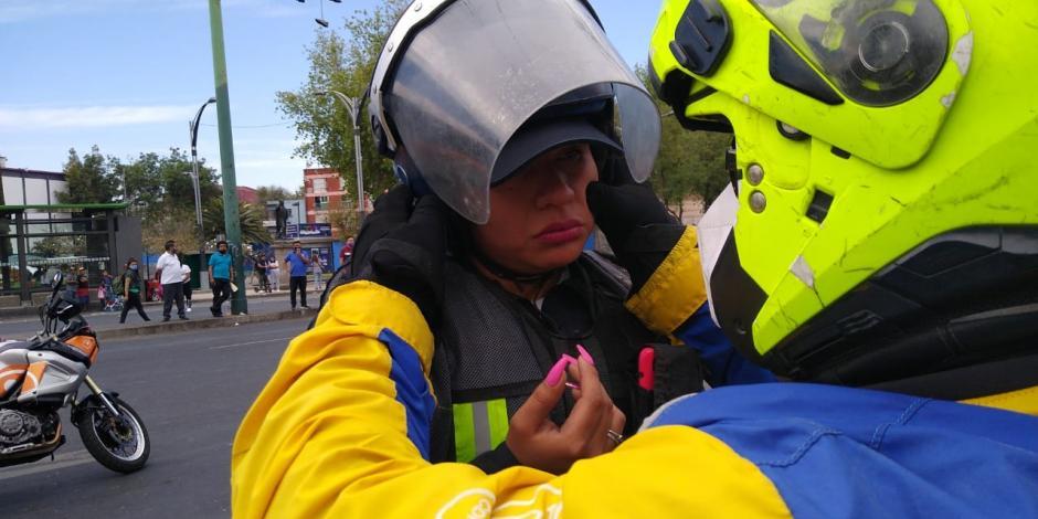 Policía lesionada durante marcha del 8M