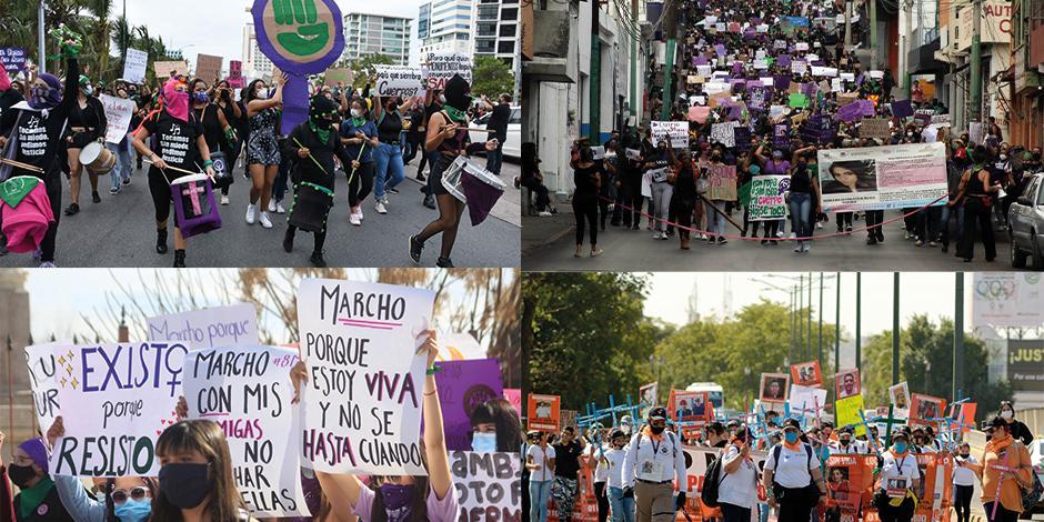 en la protesta física, pintan de colores el país Algunas de las manifestaciones de mujeres que tuvieron lugar, ayer.