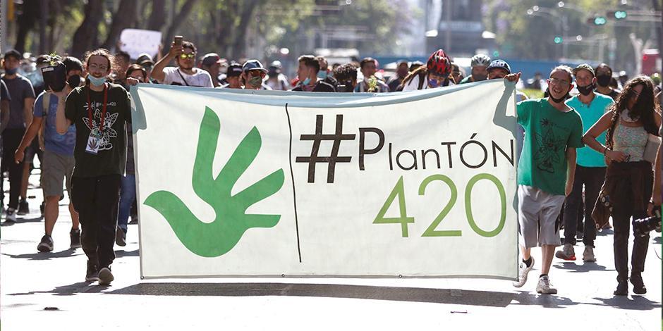 grupos pro-cannabis marcharon ayer en la CDMX para exigir la legalización de su uso.