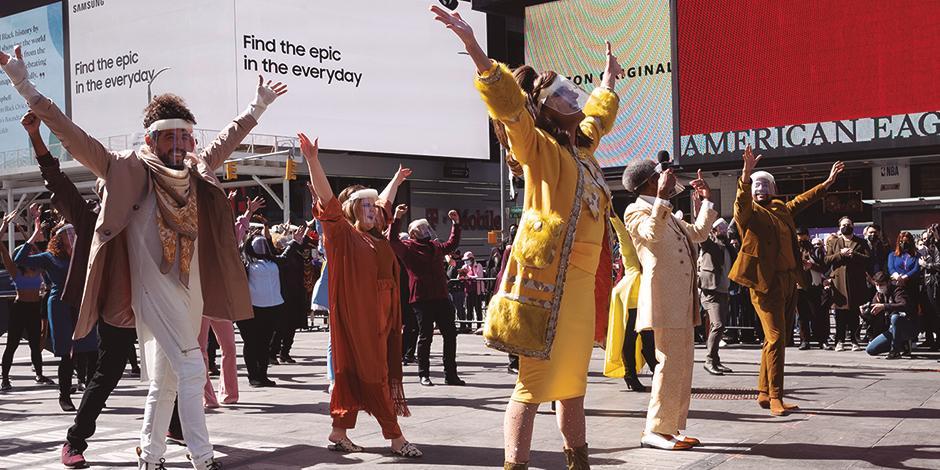 actores y bailarines de Broadway mostraron sus pasos, ayer, en NY.