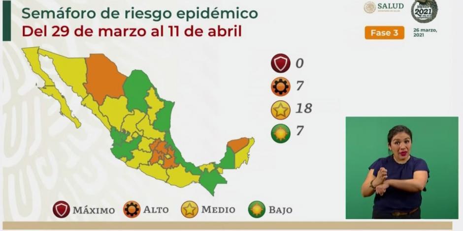 El semáforo de riesgo COVID-19 contempla para la siguiente quincena a siete entidades en color verde