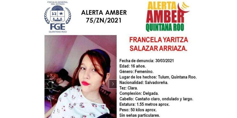 Alerta amber-Quintan Roo-Francela Yaritza Salazar Arriaza