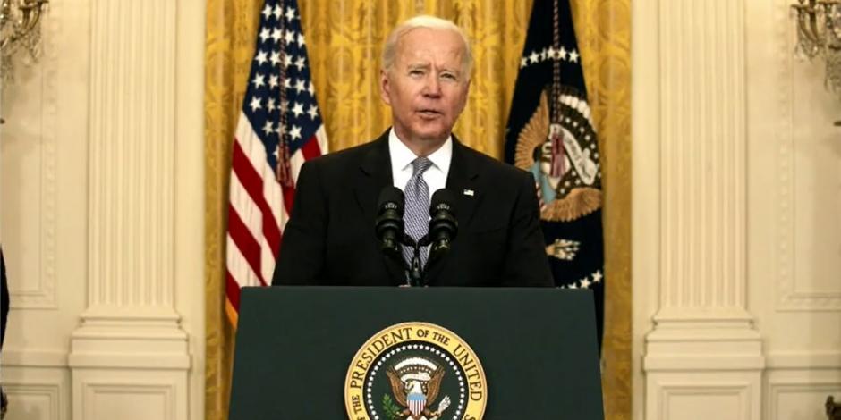 Joe Biden en conferencia a medios en la Casa Blanca, hoy.
