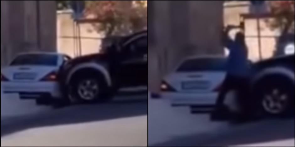 Policía destroza el Mercedes Benz de su jefe