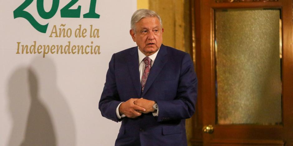 E Presidente López Obrador en conferencia matutina, este lunes.