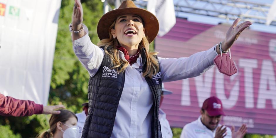 Marina del Pilar Ávila durante un acto de campaña, en mayo.