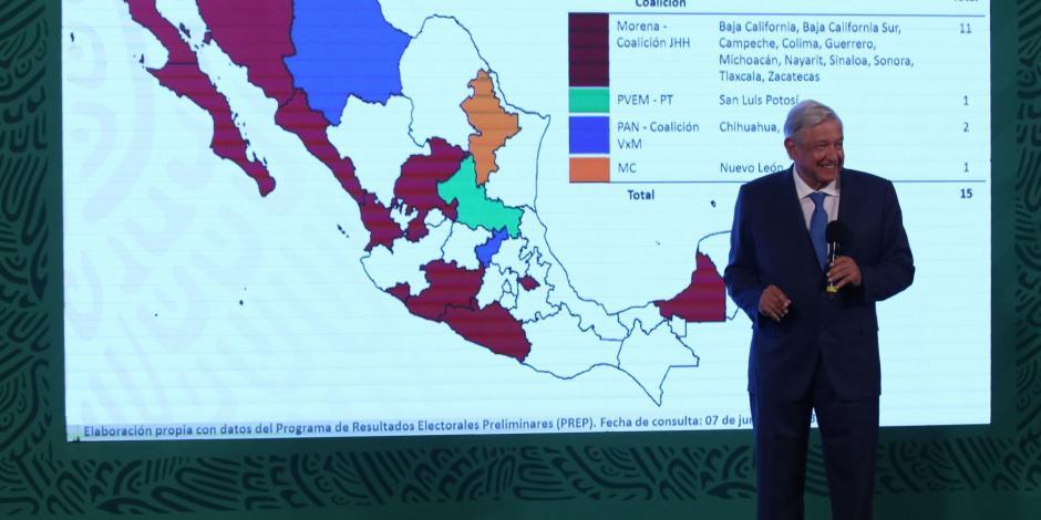 El Presidente López Obrador durante su conferencia matutina, este miércoles.