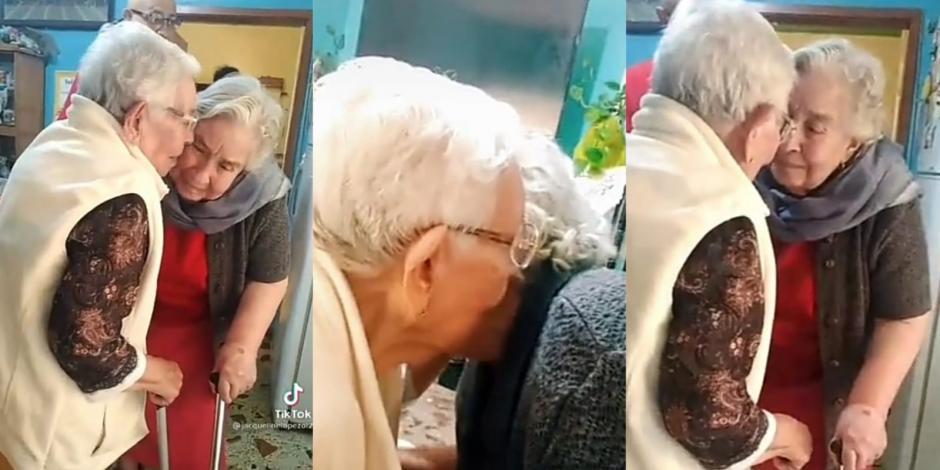 Abuelitas de 90 años se reencuentran tras pandemia
