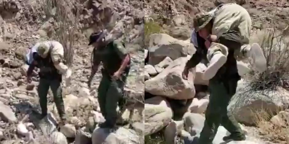 Policía fronterizo carga a migrante mexicana que buscaba cruzar de forma ilegal frontera en Estados Unidos