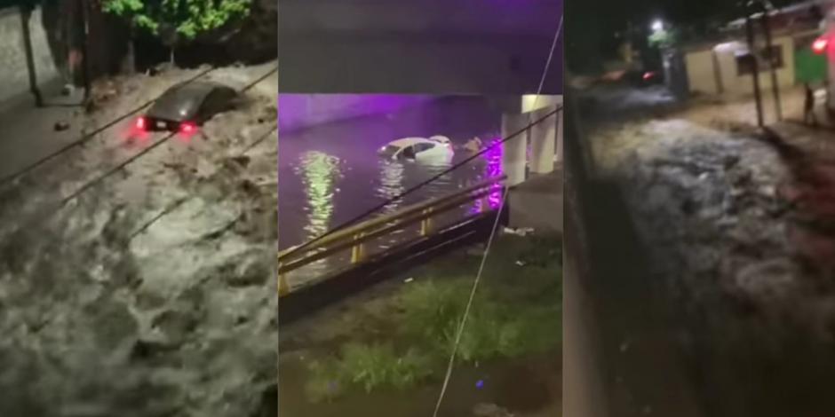 Autos varados y arrastrados por lluvias en Coahuila y Durango.