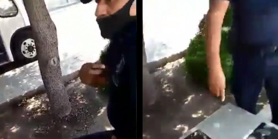 policía amenaza a pareja gay por darse beso en una calle