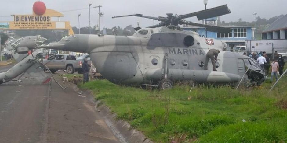 cae helicóptero de la Marina