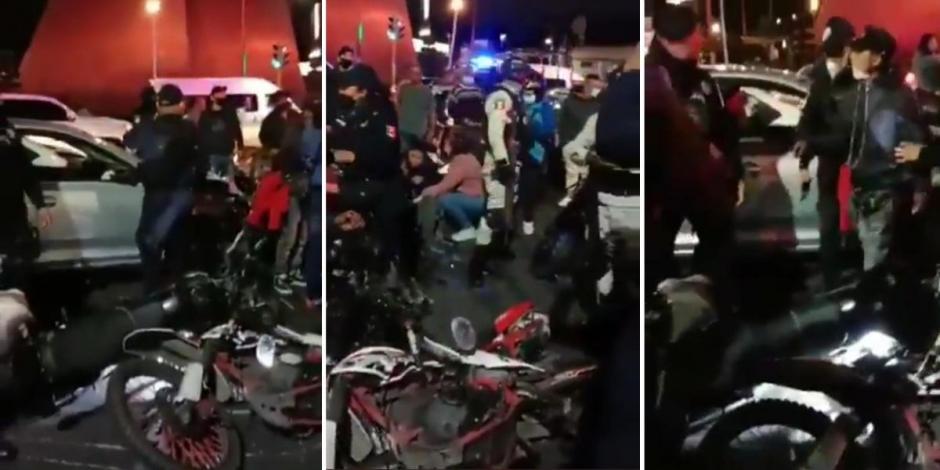 Automovilista atropella a cinco motociclistas en Neza; lo golpean hasta dejarlo inconsciente