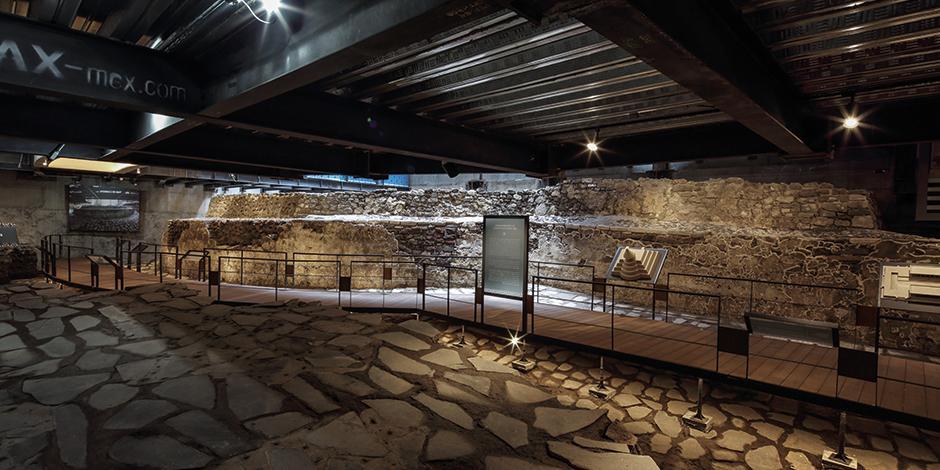 Vista del museo subterráneo donde se verán vestigios del Templo Ehécatl y del juego de pelota.
