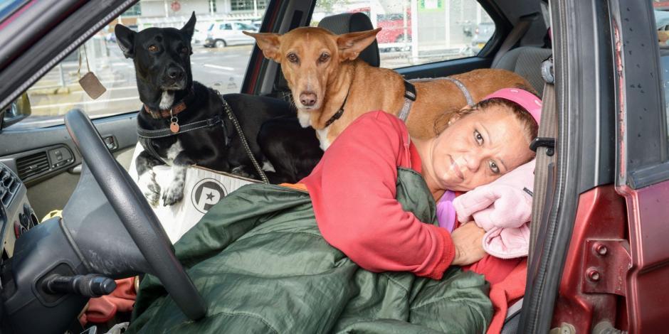 La maestra ha estado viviendo con sus dos perros dentro de un auto, en un estacionamiento