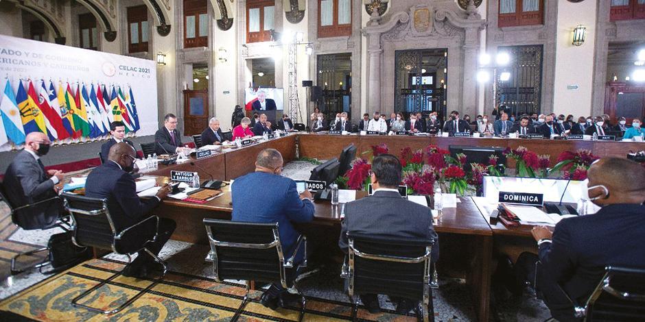 Mandatarios en la VI Cumbre de la Celac en Palacio Nacional, el sábado pasado.